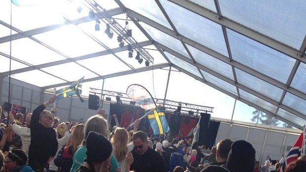 Beer area @ Lugnet right now. Norway rules! #lugnet #falun #feeling
