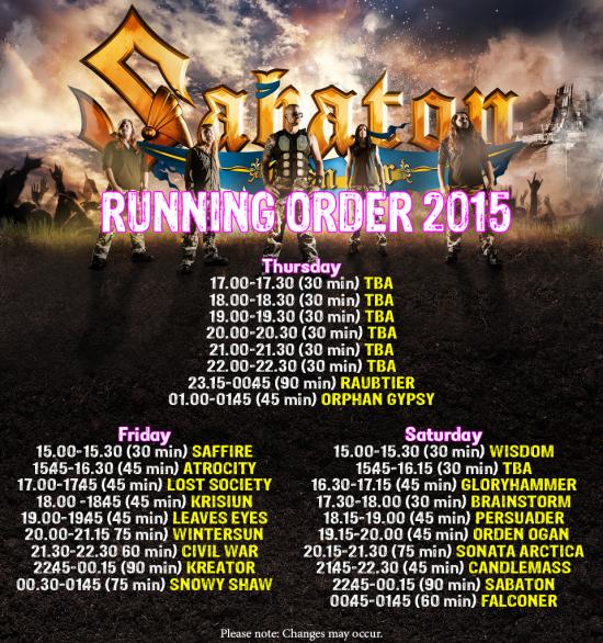 Runningorder Sabaton Open Air 2015